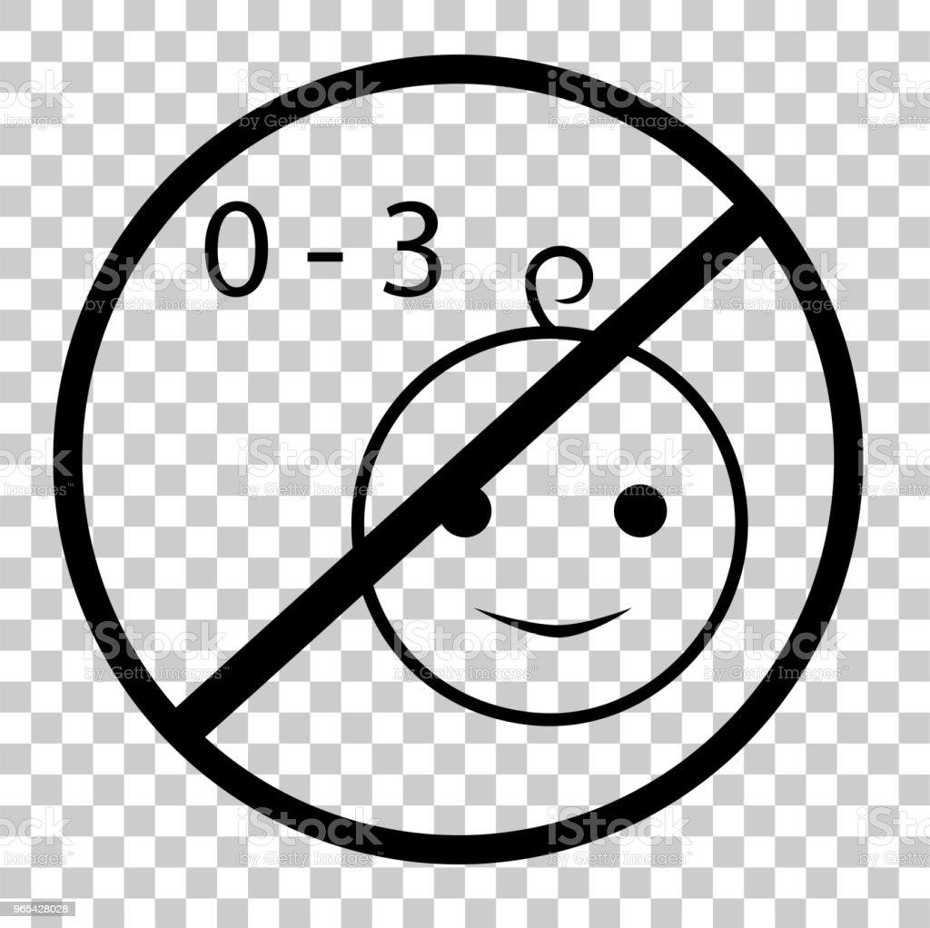 로그인-어린이 게 적합 하지 않은 금지 3 년 오래 된, 투명 효과 배경에서 - 로열티 프리 0명 벡터 아트