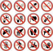 16 different Prohibited Signs