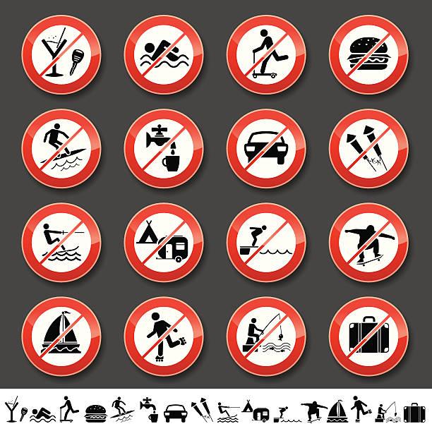 Prohibited signs vector art illustration
