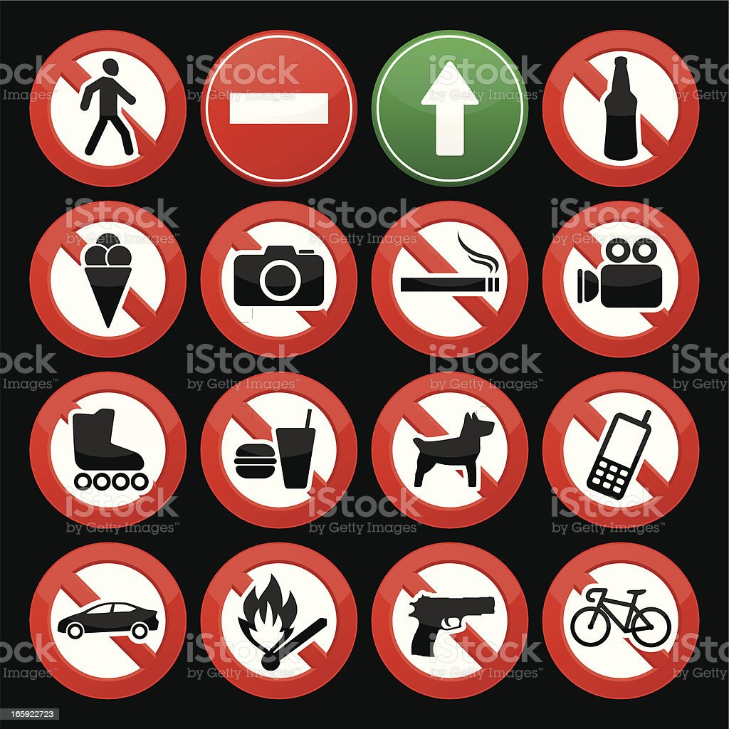 Prohibited Signs royalty-free stock vector art
