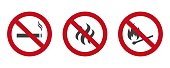 Prohibited smoking and open fire. No smoking, No open flame and do not smoke. Forbidden red sign. Vector