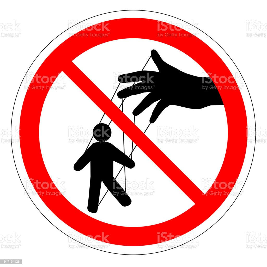 Prohibiting round road sign. Manager. Puppet show. Puppeteer puppet. control ban. Hand controls the puppet threads. vector vector art illustration
