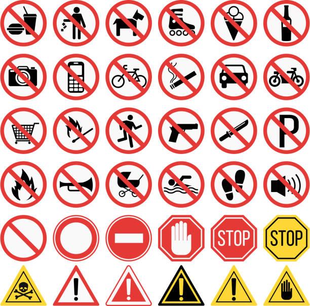 das verbot der beschilderung set vektor-illustration - ausstoßen stock-grafiken, -clipart, -cartoons und -symbole