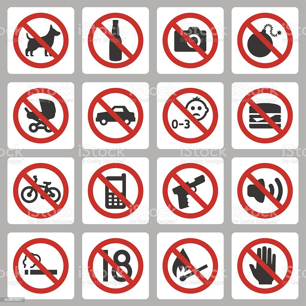 Prohibiting signs vector icons set vector art illustration