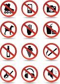 set of prohibiting signs for supermarkets and shops