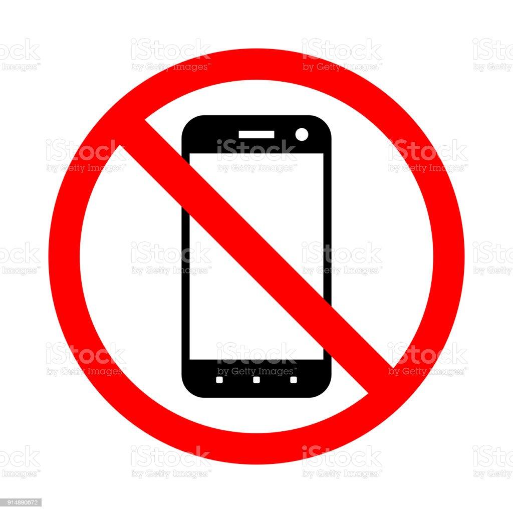 Prohibición del uso de un teléfono móvil. - ilustración de arte vectorial