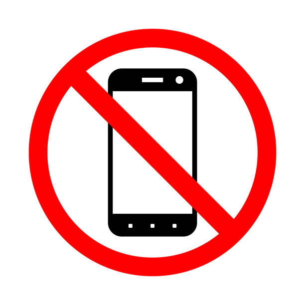 prohibiting the use of a mobile phone. - mobile phone stock illustrations, clip art, cartoons, & icons