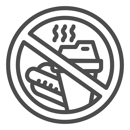 Prohibition bring food line icon, Aquapark concept, Do not bring food into the area sign on white background, Bringing food and beverage is forbidden icon in outline style. Vector graphics.