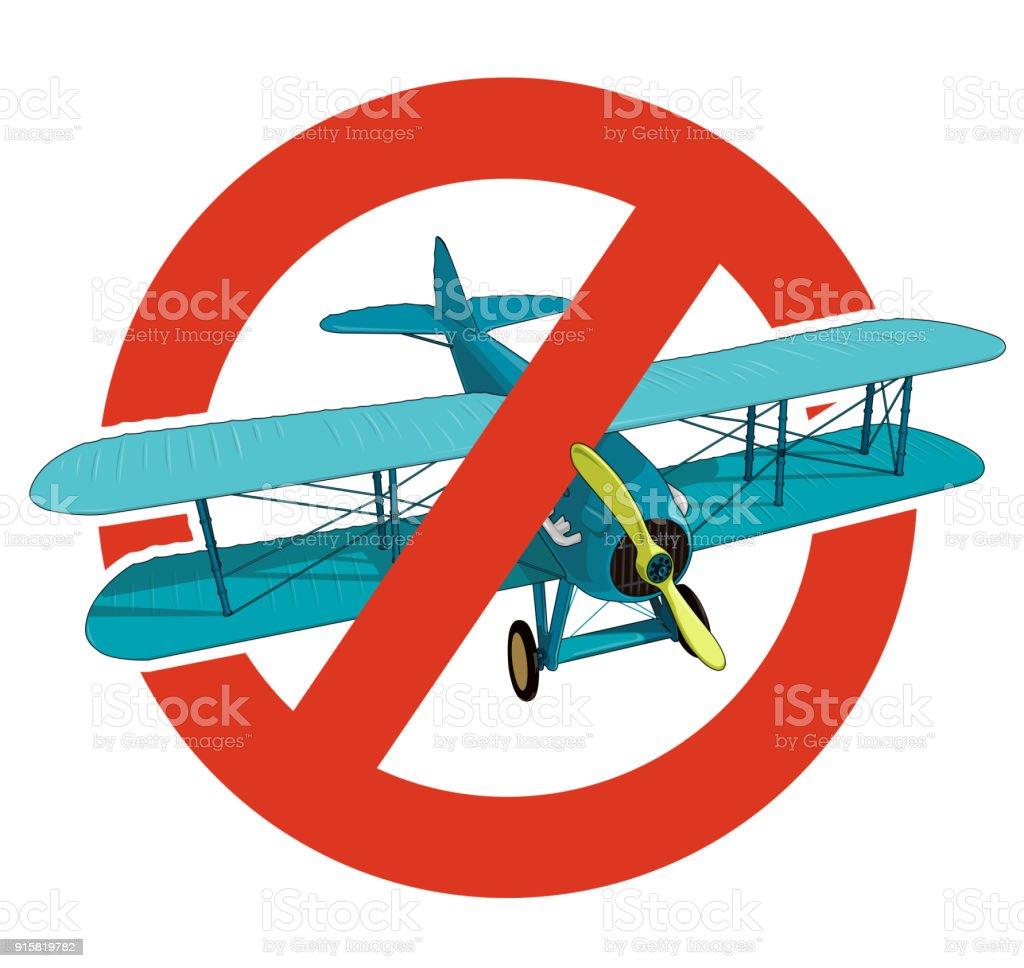 Prohibición del biplano. Estricta prohibición de construcción de aviones, prohibir. Parar la guerra mundial. Antiguo avión de retro vector aislado. - ilustración de arte vectorial