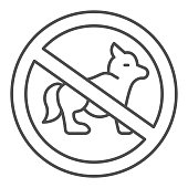 Prohibition of walking dogs thin line icon, Aquapark concept, No dogs sign on white background, sign with crossed out dog icon in outline style for mobile concept and web design. Vector graphics