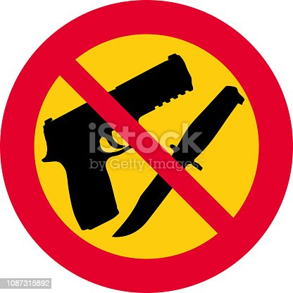 vector illustration with round, red and yellow prohibition sign. prohibition of weapons, firearms and knives