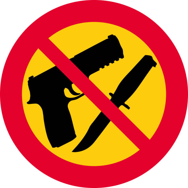prohibition of weapons, firearms and knives vector illustration with round, red and yellow prohibition sign. prohibition of weapons, firearms and knives weapon stock illustrations