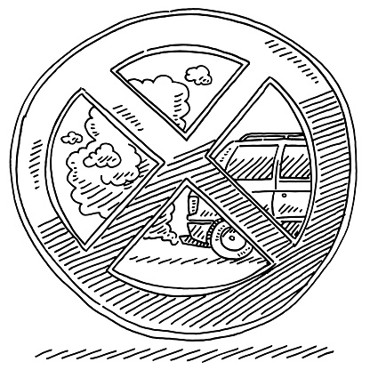 Prohibition Sign Against Combustion Engined Cars Drawing