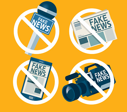Prohibition sign for fake news