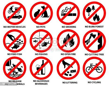 prohibition sign for public park, vector set 02