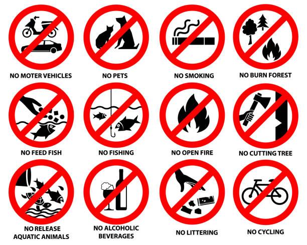 공공 공원에 대 한 금지 기호 - prohibition stock illustrations