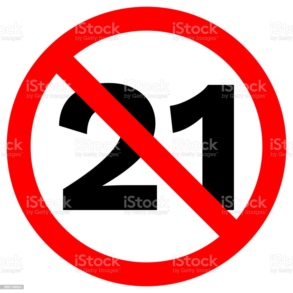 UNDER TWENTY ONE prohibition sign in crossed out red circle. Vector icon vector art illustration