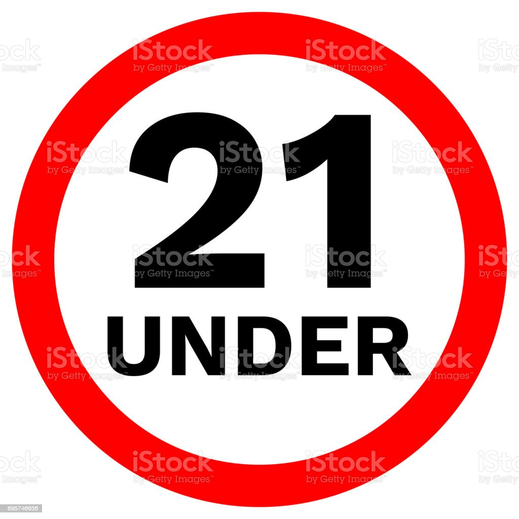 UNDER 21 prohibition sign in crossed out red circle. Vector icon vector art illustration