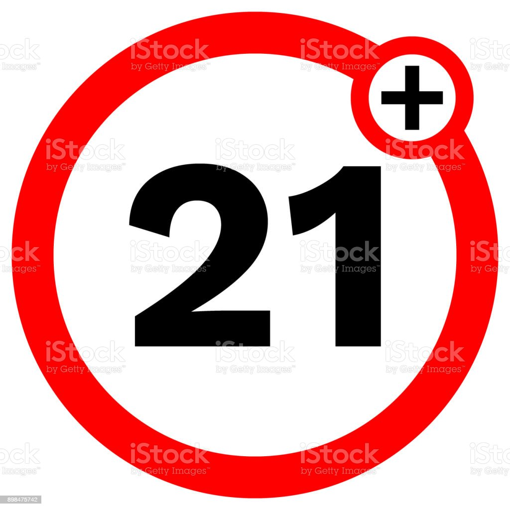 UNDER TWENTY ONE prohibition sign in red circle. Vector icon vector art illustration