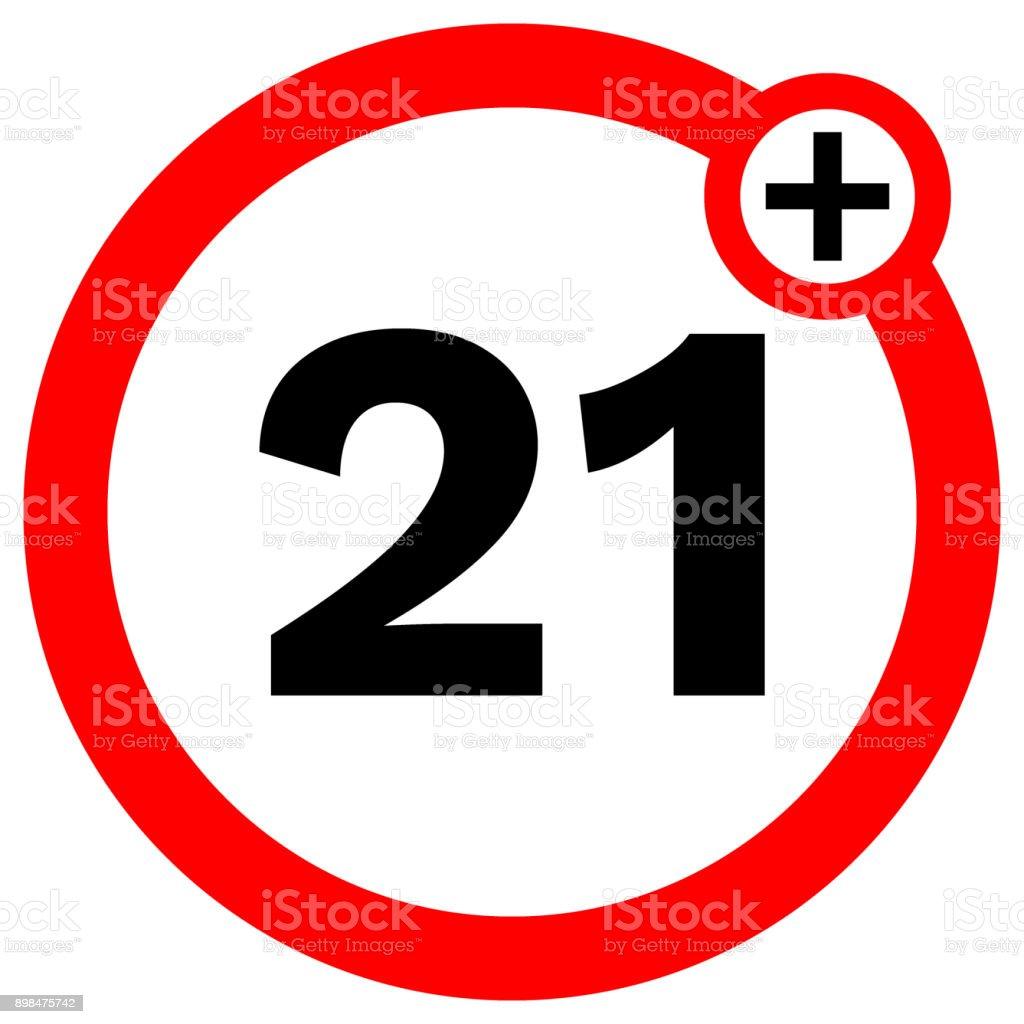 UNTER einundzwanzig Verbotszeichen im roten Kreis. Vektor icon – Vektorgrafik