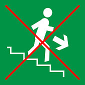 Prohibition sign on green background: stairs, do not run, do not rush