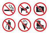 prohibition sign set at the entrance to the store - no dog, icecream, photo, smoke, skates, litter