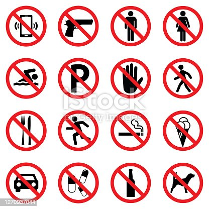 Prohibition sign set for call phone , pistol , entry , swimming , parking , walk , food , running , smoking , ice cream , car , pills , alcohol and dog . Vector Illustration