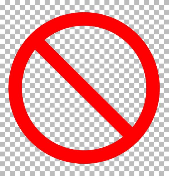 verbotszeichen transparent. verbot zeichen symbol flache design-stil. verbotszeichen zu unterzeichnen. - ausstoßen stock-grafiken, -clipart, -cartoons und -symbole