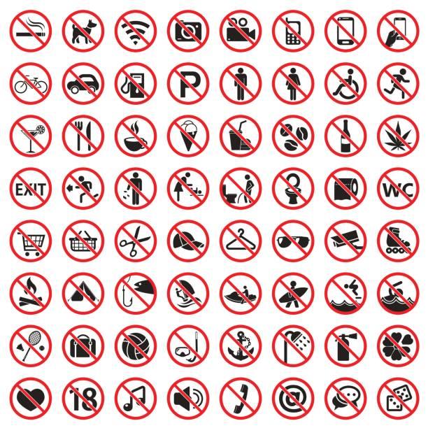 verbots-schilder-icon-set - ausstoßen stock-grafiken, -clipart, -cartoons und -symbole