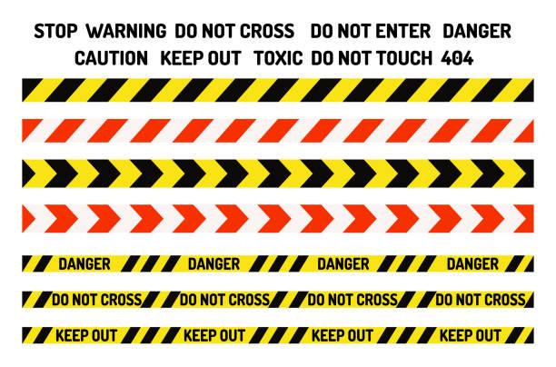 verbot unterzeichnet industrie produktion vektor warnung gefahr verboten sicherheit informationen bandschutz keine zulässigen vorsicht-informationen - ausstoßen stock-grafiken, -clipart, -cartoons und -symbole