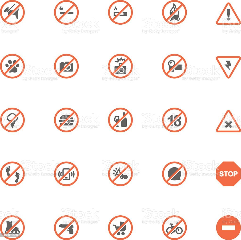 Prohibition signs set vector art illustration