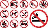 Prohibition signs set vector illustration.