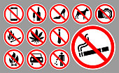 Prohibition signs set vector illustration on a white background.