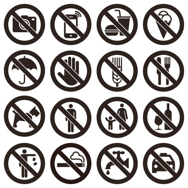 Prohibition signs Prohibition signs isolated on white background exclusion stock illustrations