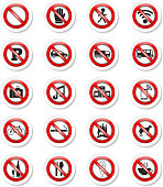 Set of stickers with prohibition signs, vector eps10 illustration