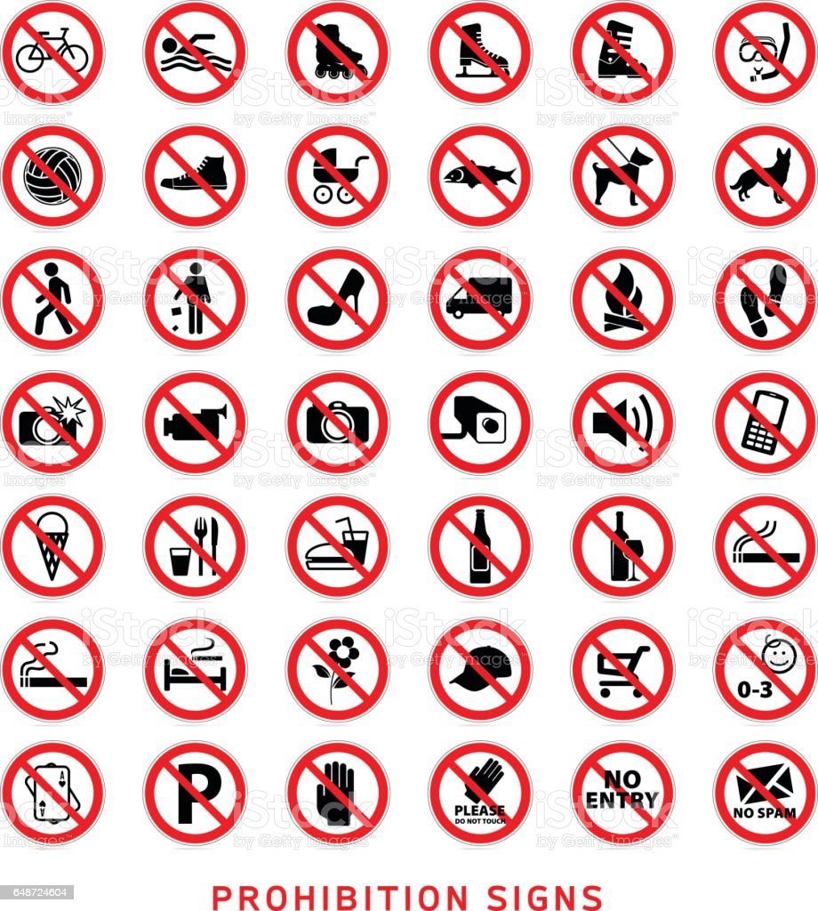 Prohibition signs vector art illustration