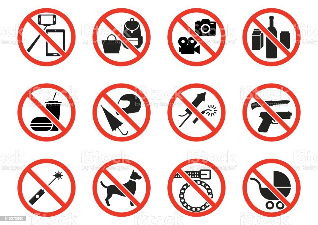 Prohibition signs vector art illustration
