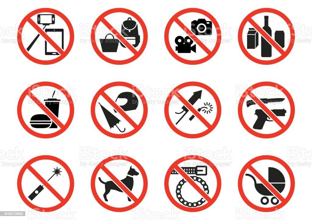 Sinais de proibição  - ilustração de arte em vetor