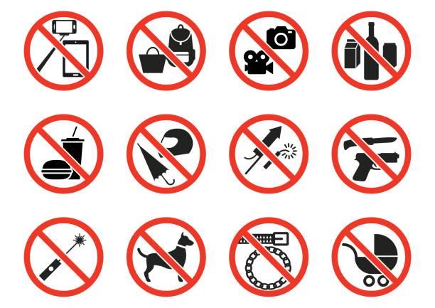 prohibition beschilderung  - ausstoßen stock-grafiken, -clipart, -cartoons und -symbole