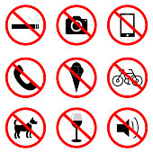High quality Standard Prohibition sign collection, vector symbols.