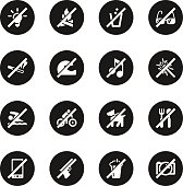 Prohibitions Icons Set 1 Black Circle Series Series Vector EPS10 File.