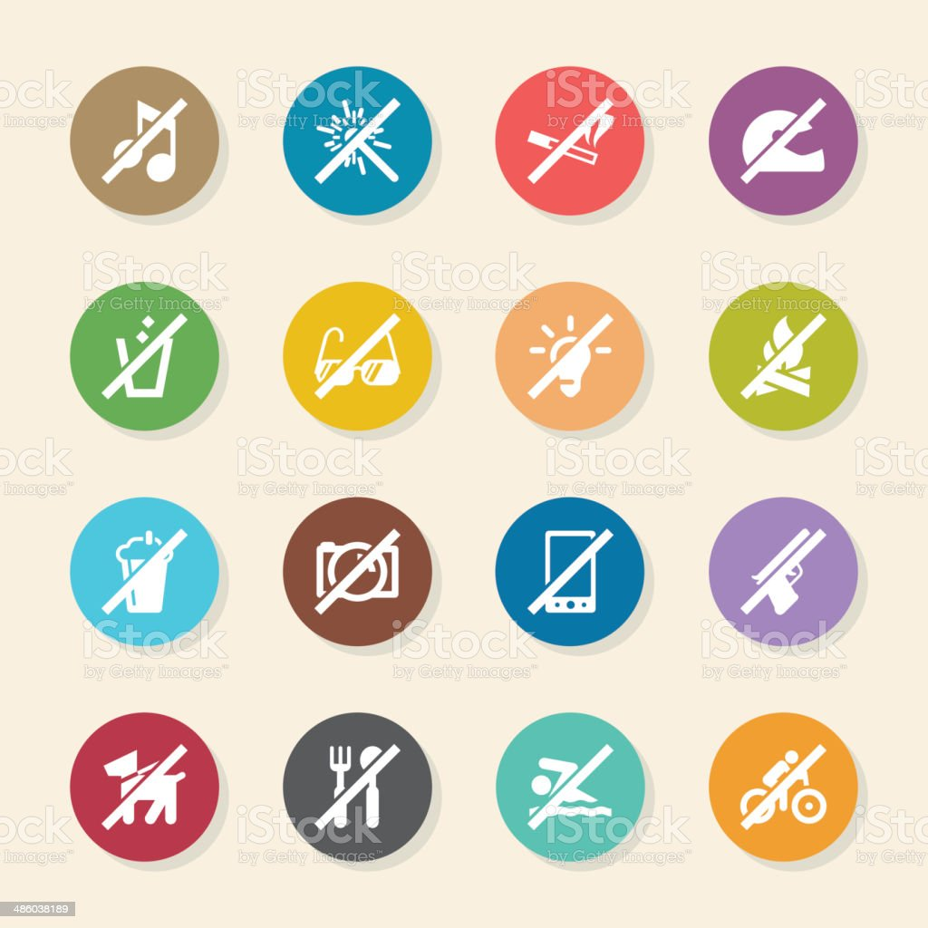 Prohibitions Icons Set 1 - Color Circle Series royalty-free stock vector art