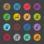 Prohibitions Icons Set 1 Color Circle Series Vector EPS File.
