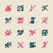 Prohibitions Icons Set 2 Color Series Vector EPS10 File.