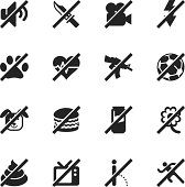 Prohibitions Silhouette Vector File Icons Set 2.
