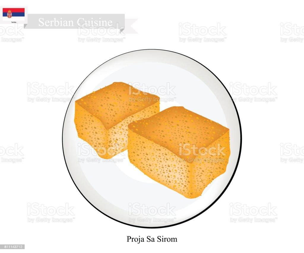 Proja Sa Sirom, A Popular Dessert of Serbia vector art illustration