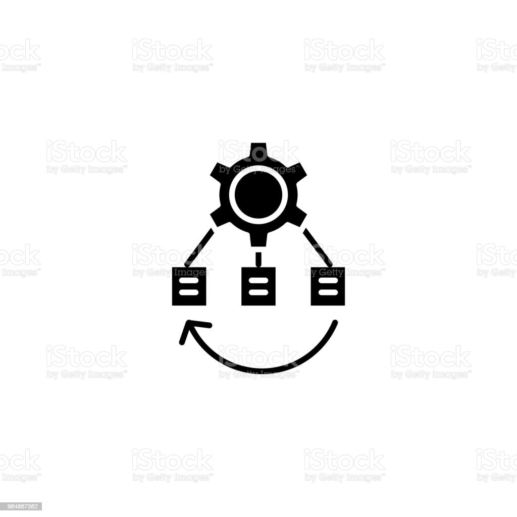 Project business structure black icon concept. Project business structure flat  vector symbol, sign, illustration. royalty-free project business structure black icon concept project business structure flat vector symbol sign illustration stock vector art & more images of no people