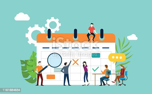 project calendar schedule with office team working together and discuss - vector illustration
