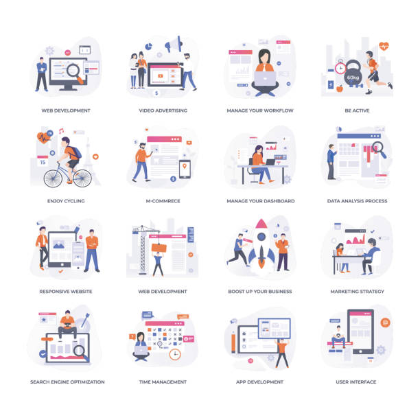 Project Development Illustrations Pack This is collection of project management illustrations. These vectors are great for presentations, web design, web apps, mobile applications or any type of design projects. web design stock illustrations