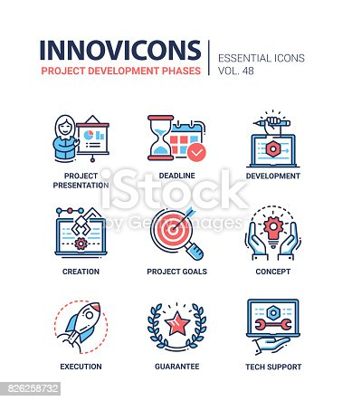 Project Development Phases - modern essential vector line design icons set. Presentation, deadline, hourgalss, time, chart, person, laptop, creation, goal, concept, execution, guarantee, tech support